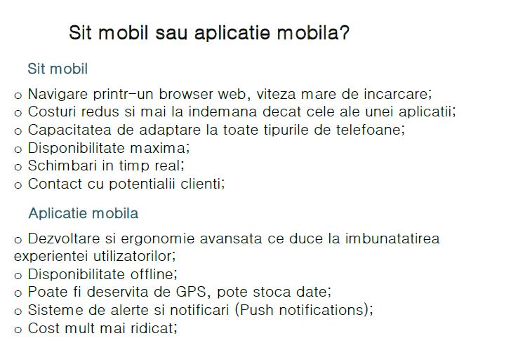 site mobil vs aplicatie mobila