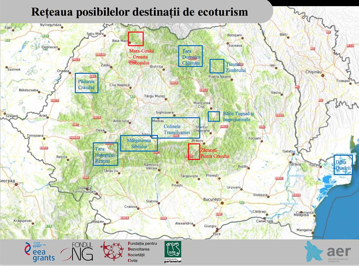 retea 10 destinatii ecoturism romania
